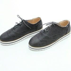 Grey Oxford Sneaker Platforms